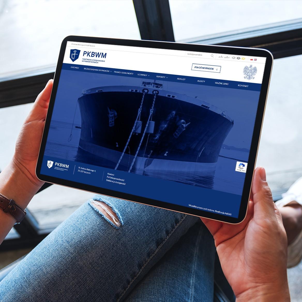 screen przedstawiający Państwowa Komisja Badania Wypadków Morskich