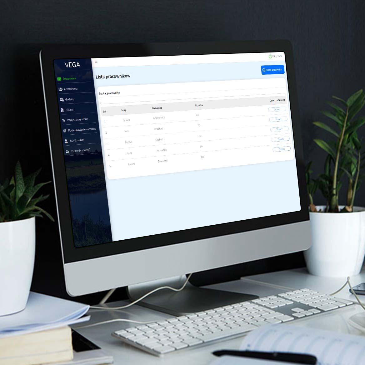 screen przedstawiający Aplikacja webowa – rozliczanie pracowników